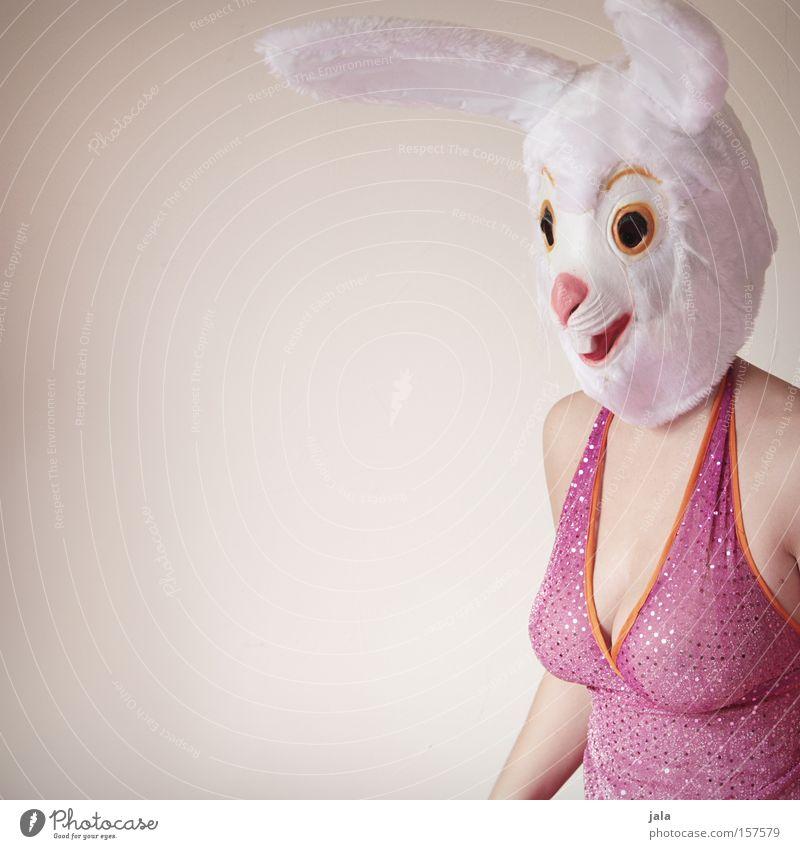 Wie der Hase zu seinem Oster-Job kam Frau weiß Freude Tier lustig rosa Ohr Ostern Maske Karneval Hase & Kaninchen Kostüm verkleiden Osterhase freizügig Mensch