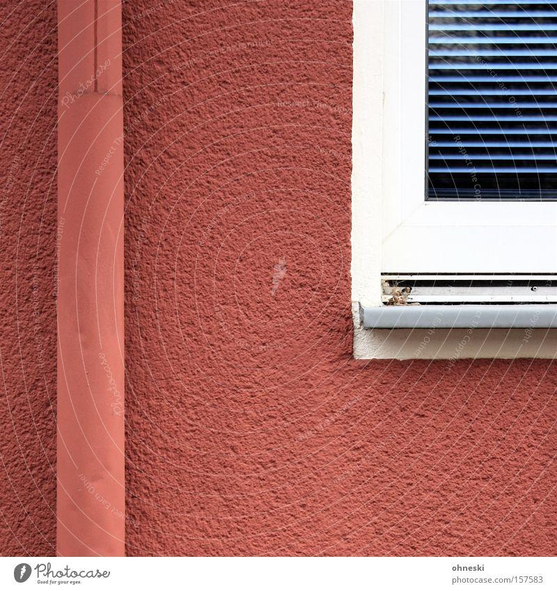Regenrohr und Fenster blau rot Farbe Fenster Regen Linie Anstreicher Anstrich Rollo