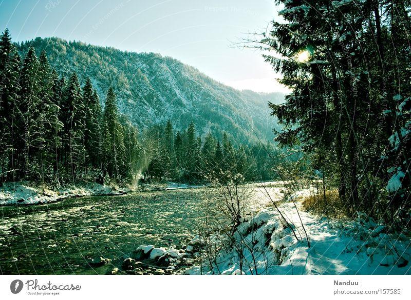 Tauwetter Natur Winter kalt Schnee Berge u. Gebirge Frühling frisch Frost Fluss Frieden Klarheit Idylle Bayern Bach Österreich friedlich