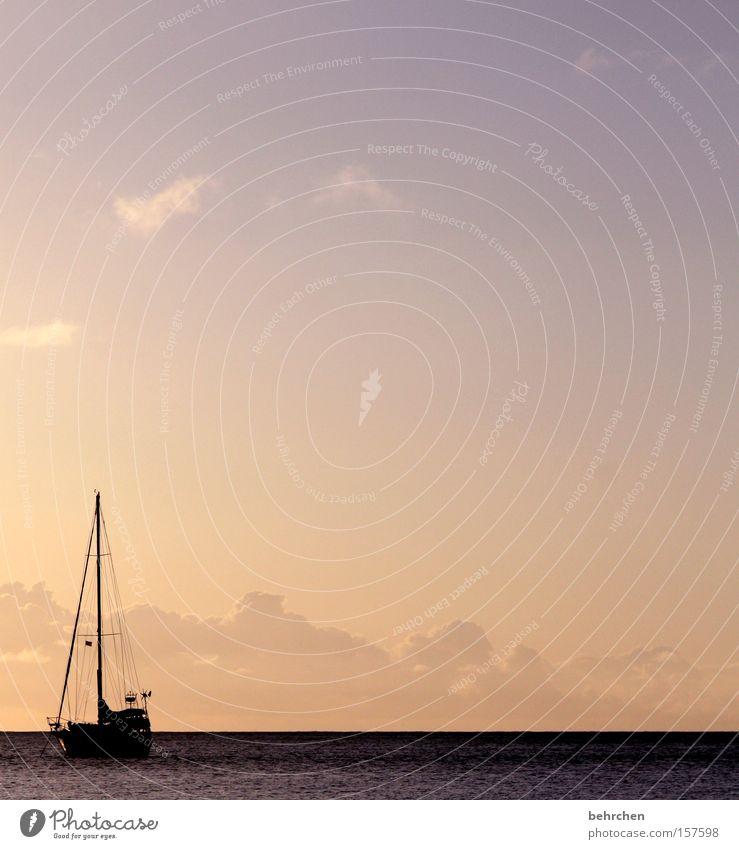 die leichtigkeit des seins Seychellen Sonnenuntergang Himmel entdecken frei Ferne Segeln Wasserfahrzeug träumen Hoffnung Meer Strand Küste fremde welten