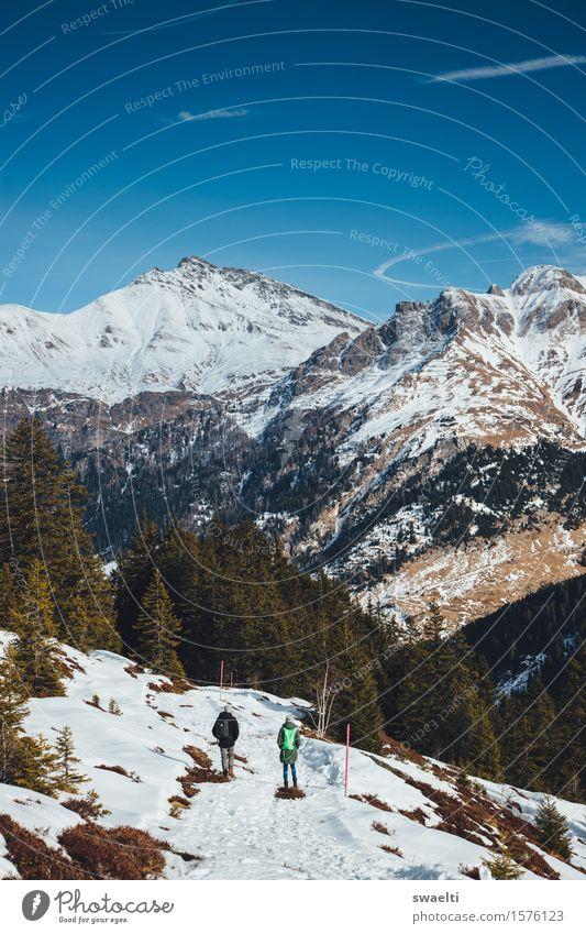 Walk towards Spring Mensch 2 18-30 Jahre Jugendliche Erwachsene Natur Landschaft Himmel Wolkenloser Himmel Winter Schönes Wetter Hügel Alpen Berge u. Gebirge