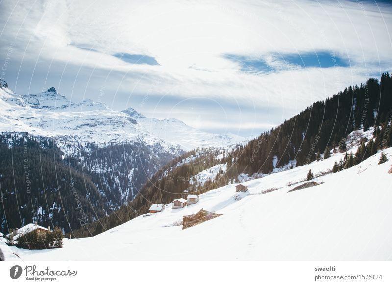 We're ready for you, snow Himmel Natur blau weiß Landschaft Wolken ruhig Winter Berge u. Gebirge kalt natürlich Schnee Glück Zufriedenheit Wetter wandern