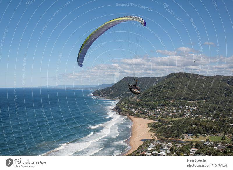 Stanwell Park with paraglider Mensch Himmel Natur Mann Sommer Meer Landschaft Wolken Haus Strand Erwachsene Küste fliegen Wellen Schönes Wetter Abenteuer