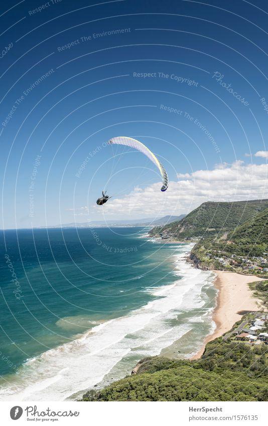 Stanwell Park with paraglider Mensch Himmel Natur Sommer Meer Landschaft Wolken Haus Strand Erwachsene Küste Sport Freiheit fliegen Wellen Aussicht