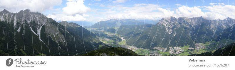 Panorama des vorderen Stubaitals Natur blau Sommer grün weiß Landschaft Wolken Berge u. Gebirge grau braun Gipfel Alpen