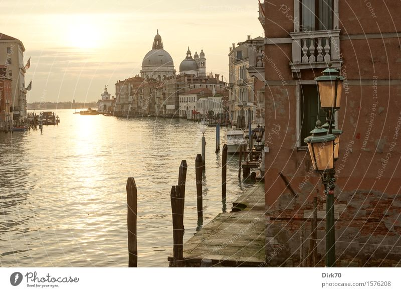 Santa Maria della Salute und der Canal Grande Ferien & Urlaub & Reisen Tourismus Sightseeing Städtereise Sonne Sonnenaufgang Sonnenuntergang Sonnenlicht