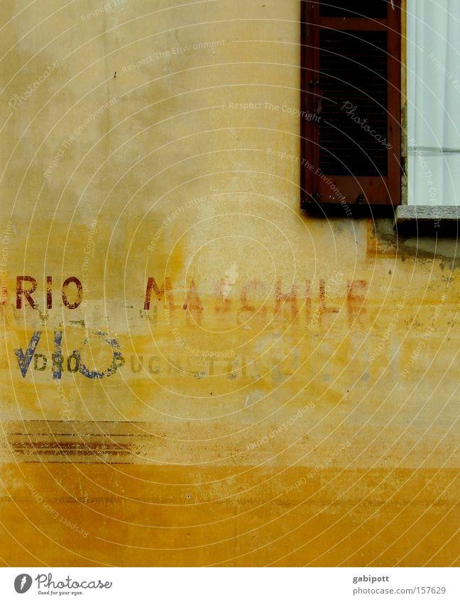 Rio Maschile alt blau Sommer Haus gelb Farbe Wand Fenster Stein Mauer Gebäude Graffiti braun Schilder & Markierungen Fassade retro