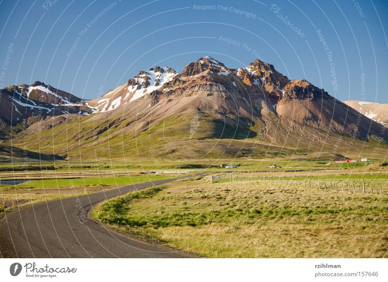 Bergszene grün blau Straße Berge u. Gebirge Wege & Pfade Landschaft Island Spiegelbild