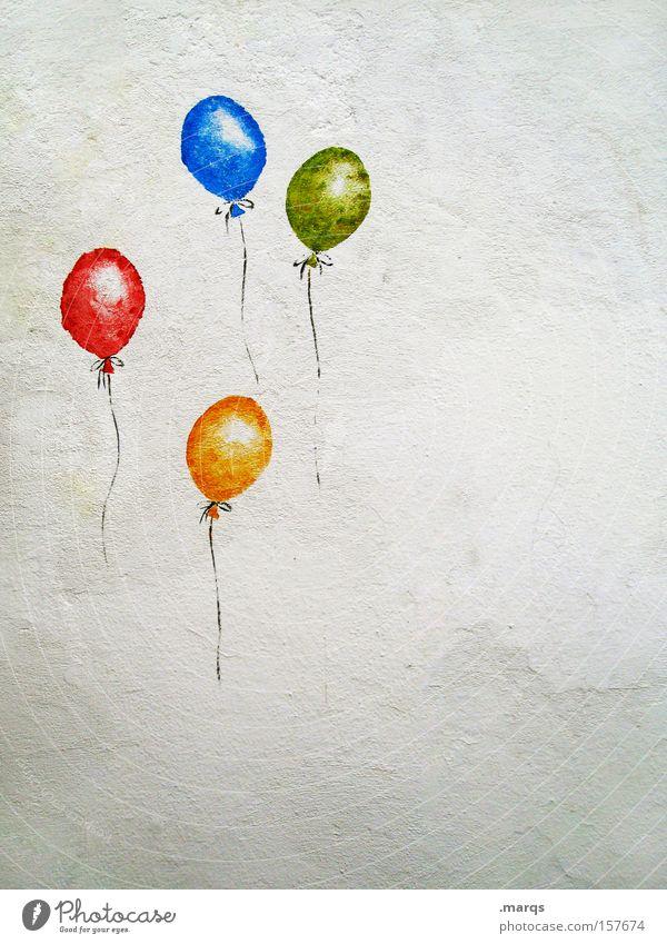 Up, Up and Away Farbfoto mehrfarbig Textfreiraum rechts Wohlgefühl Spielen Party Feste & Feiern Geburtstag Luftballon Graffiti fliegen außergewöhnlich Gefühle