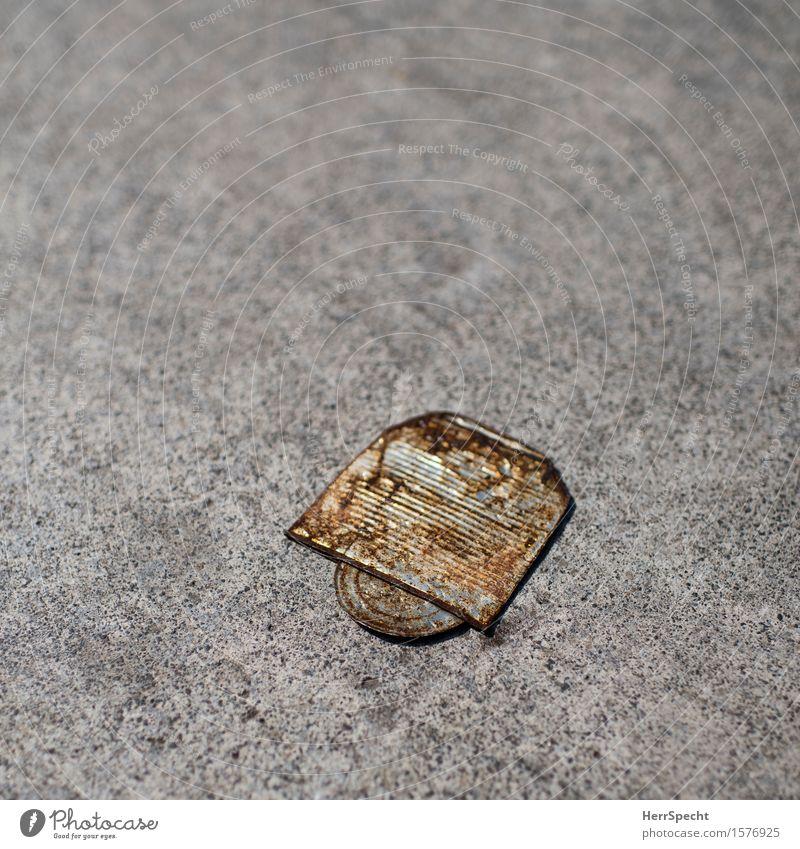 Da bin ich platt Metall alt trist braun grau Konservendose leer Rost Fundstück Straßenbelag Bürgersteig Objektfotografie Dose Farbfoto Gedeckte Farben