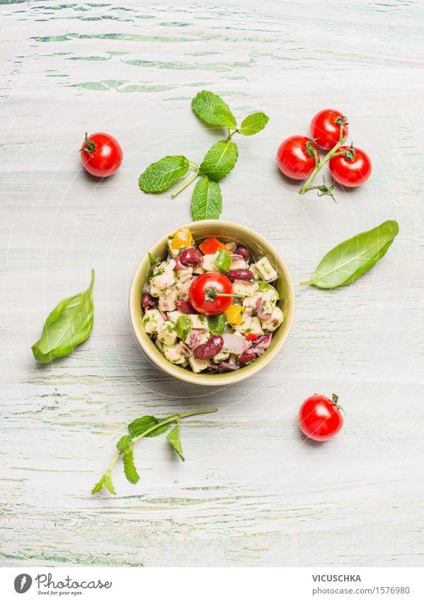 Bohnen Salat mit Ziegenkäse Lebensmittel Gemüse Salatbeilage Kräuter & Gewürze Ernährung Mittagessen Abendessen Büffet Brunch Bioprodukte Vegetarische Ernährung