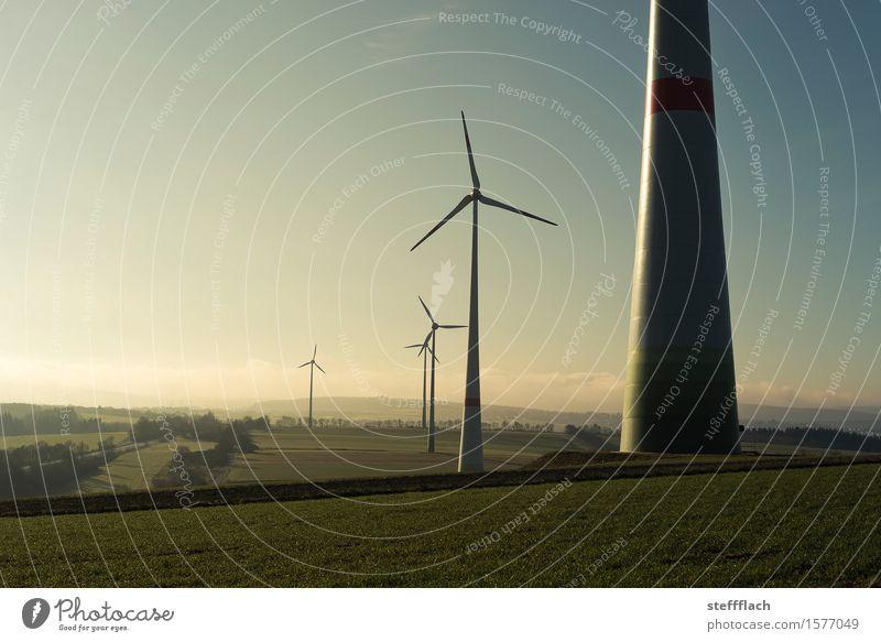 Sonnenaufgang Windernte Energiewirtschaft Technik & Technologie Erneuerbare Energie Windkraftanlage Umwelt Landschaft Erde Luft Himmel Sonnenlicht Frühling