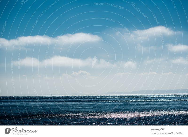 Glitzermeer Himmel Natur blau Wasser weiß Meer Erholung Landschaft Wolken Frühling Küste Zeit Horizont glänzend Luft Wellen