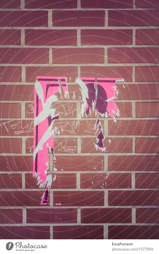 ungeliebtes Plakat Gebäude Mauer Wand Fassade Stein Linie braun rosa Einladung Plakatwand plakatiert Backstein kaputt Verbote Graffiti Werbung Demontage