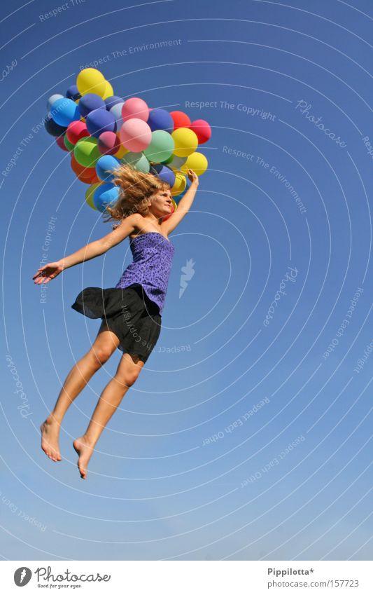 unterwegs! Himmel Sommer Freude mehrfarbig fliegen Erfolg frei Fröhlichkeit Luftballon Mensch Jahreszeiten unmöglich