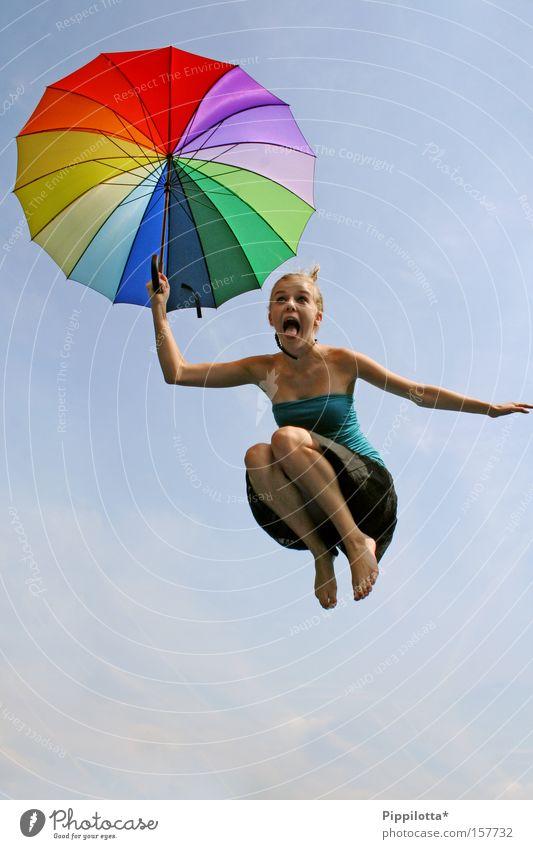 holy shit! Freude springen verrückt mehrfarbig Regenschirm schreien Zunge