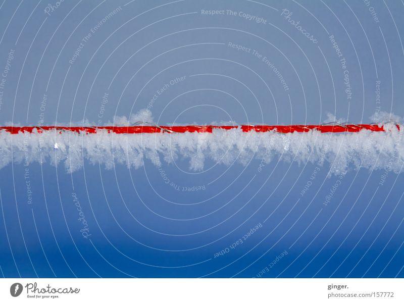 Wired Ice Himmel weiß blau rot Winter kalt Schnee Eis Metall Frost gefroren Draht Kristallstrukturen Kristalle Verlauf elektrisch