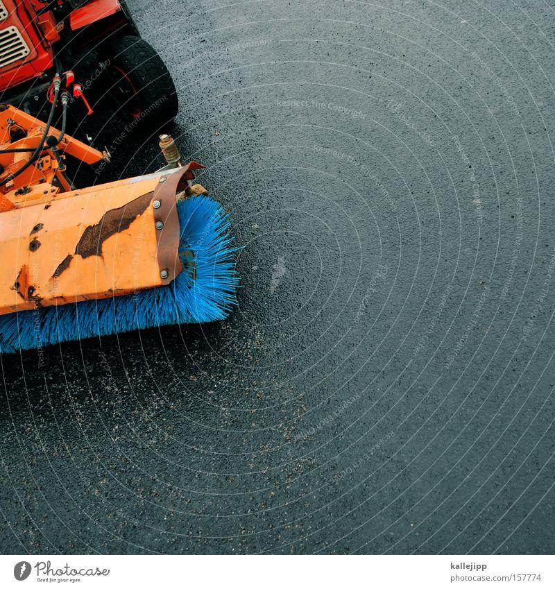 blau machen blau Schnee orange Sauberkeit Asphalt Reinigen Teer Besen Bürste Streusand Streugut Kehrmaschine Straßenreinigung Öffentlicher Dienst