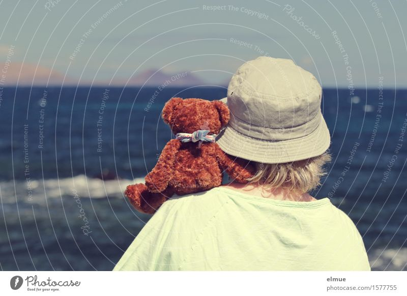 Teddy Per macht Urlaub (6) Frau Erwachsene 1 Mensch Himmel Küste Meer Horizont Spielzeug Teddybär Stofftiere Hut beobachten Erholung festhalten Kommunizieren