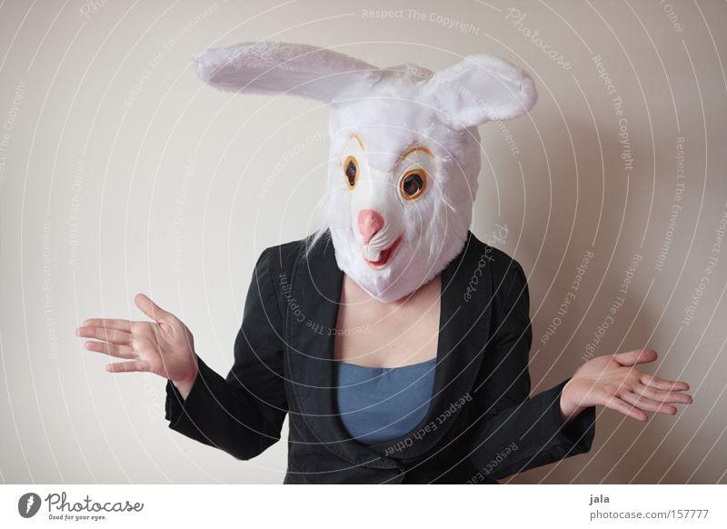 Picknick - Was soll ich mitnehmen? Hase & Kaninchen Osterhase Ostern Karneval verkleiden Tier weiß lustig Frau Karnevalskostüm Kostüm ratlos Freude