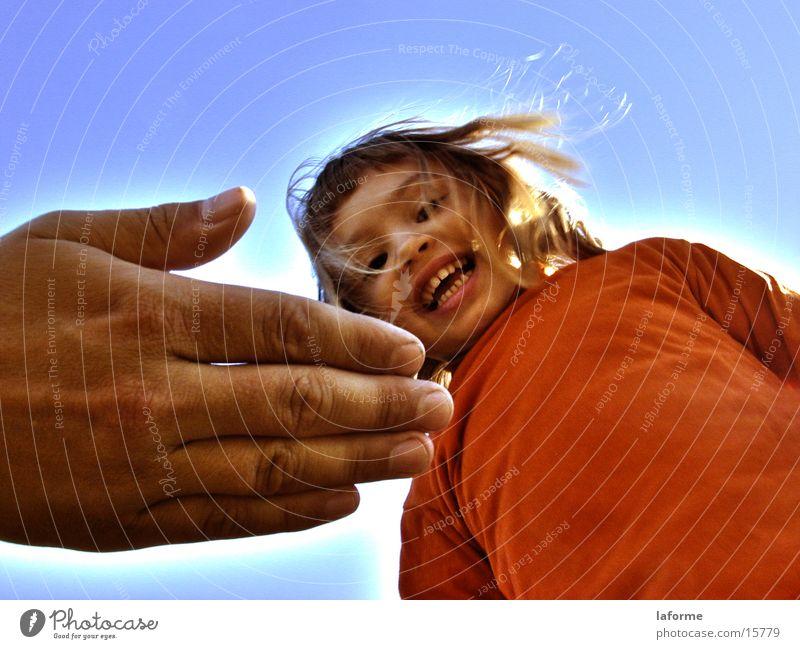 Oranges Kind Mensch Hand Mädchen Himmel