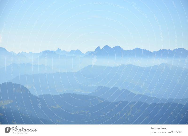 Blaue Berge Himmel Natur Ferien & Urlaub & Reisen blau Sommer Landschaft Ferne Berge u. Gebirge Freiheit Horizont Luft Freizeit & Hobby Erde Gipfel Urelemente Alpen