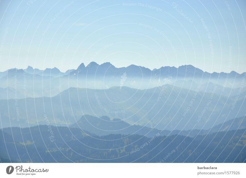 Ton in Ton | Blaue Berge Ferien & Urlaub & Reisen wandern Landschaft Urelemente Himmel Sommer Berge u. Gebirge Gipfel hoch blau Stimmung Freiheit Horizont Natur
