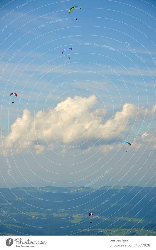 Sie fliegen wieder Mensch Himmel Natur Landschaft Wolken Freude Ferne Berge u. Gebirge Gefühle Sport Menschengruppe Freizeit & Hobby Luft Erde Wind