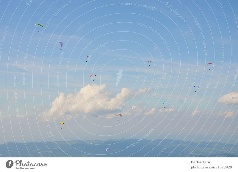 HOCH SOLL SIE LEBEN! Sport Gleitschirmfliegen Mensch Menschengruppe Natur Landschaft Luft Himmel Wolken Alpen Berge u. Gebirge blau Stimmung Freude Lebensfreude