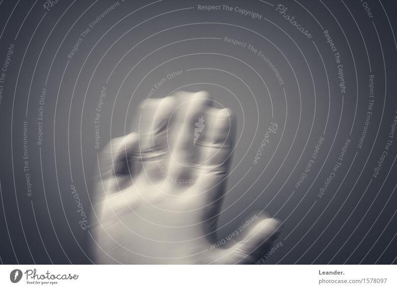 Hand, Handschuhe, Corona Körper Finger verrückt Geschwindigkeit grau weiß Gesundheitswesen Hilfsbereitschaft Perspektive winken Latexhandschuhe Bewegung Gruß