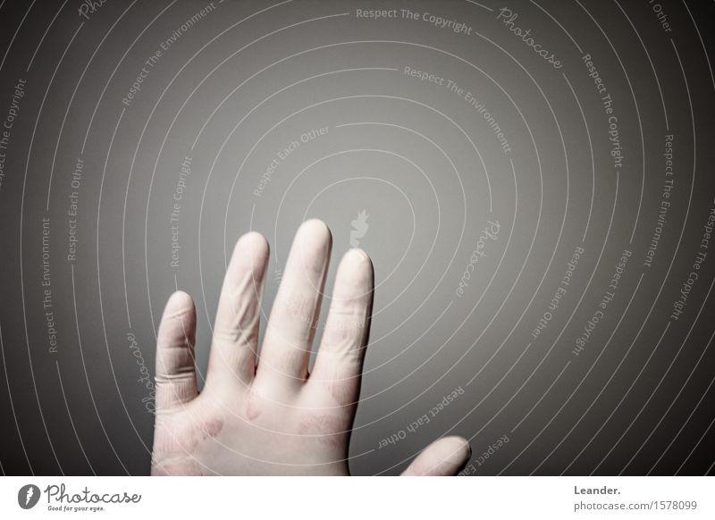 Handschuh Mensch Finger 1 Maler warten ästhetisch frech Sauberkeit grau gefährlich Stress Gesundheit Idee Kontrolle Mode stoppen Handschuhe Latexhandschuhe Nein