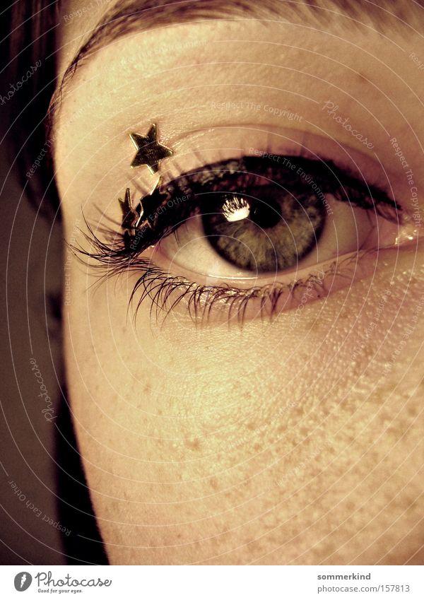 Du bist mein Stern Mensch blau schön schwarz Gesicht Auge träumen gold Haut Stern (Symbol) Sehnsucht Frieden Märchen Sommersprossen Wimpern bleich