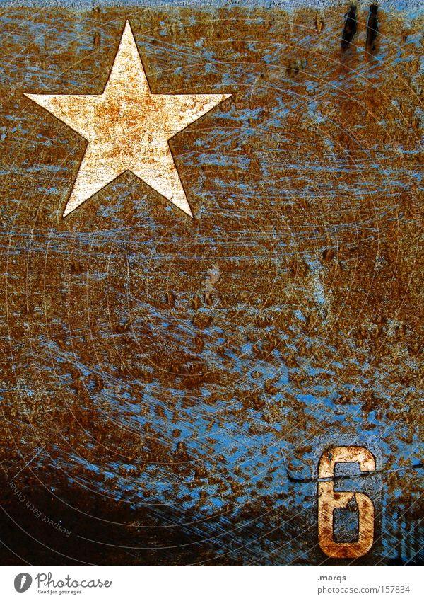 *6 alt blau Stil Metall braun Schilder & Markierungen ästhetisch außergewöhnlich Stern (Symbol) Coolness Ziffern & Zahlen verfallen Symbole & Metaphern Zeichen Rost skurril