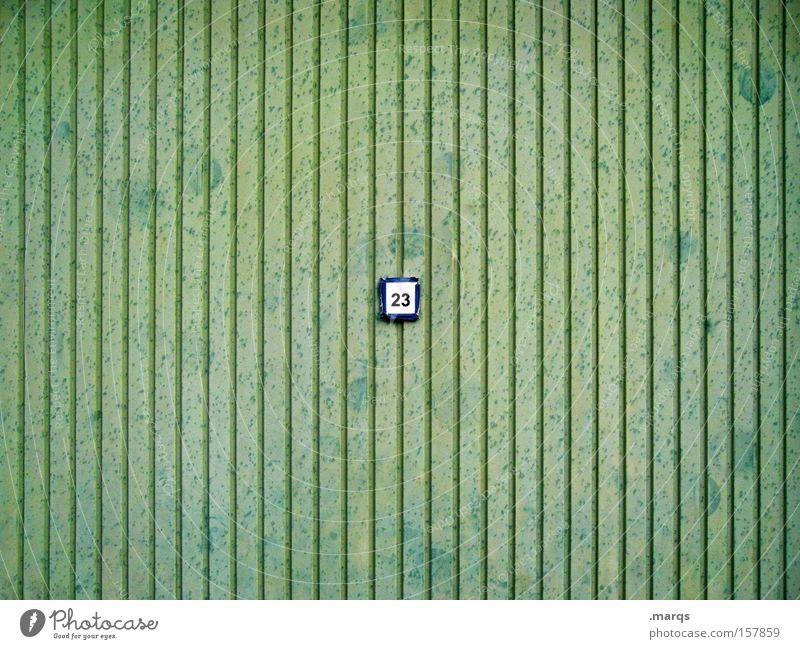 Bolzwand alt grün Wand Spielen Metall Linie Freizeit & Hobby außergewöhnlich Wandel & Veränderung Ziffern & Zahlen Tor Garage Blech toben 23 Hausnummer