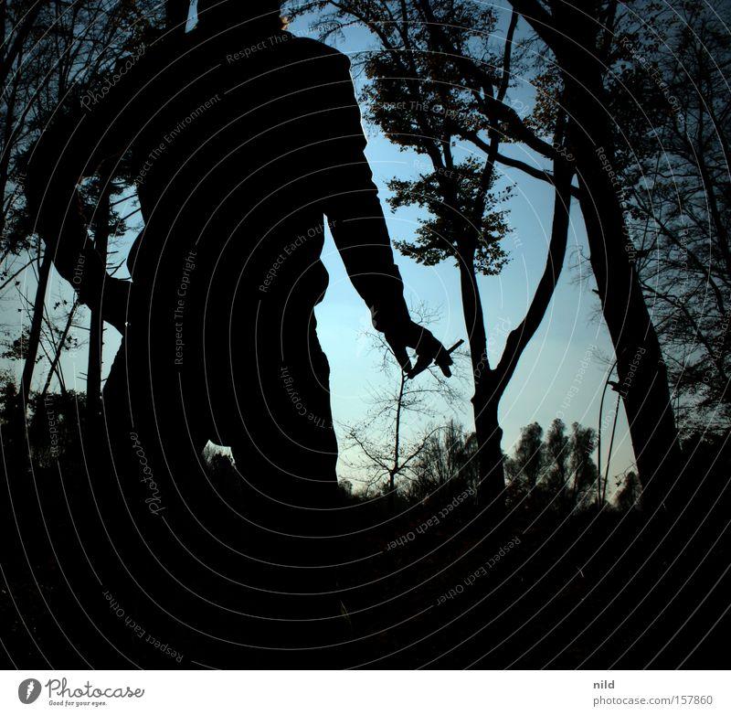 Der Picknicker Mann Natur Wald Brand Rauchen Zigarette brennen Desaster Waldbrand