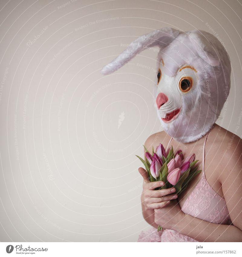 Du hast mein Hasenherz berührt Frau weiß Blume Freude Liebe Tier lustig Ostern Maske Karneval Hase & Kaninchen Kostüm Osterhase verkleiden Mensch