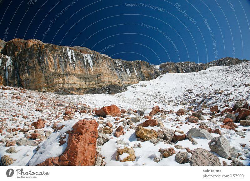 mars on earth Natur Himmel blau Winter Einsamkeit Berge u. Gebirge Stein wandern Wetter Felsen hoch Klettern Alpen Marslandschaft Dolomiten