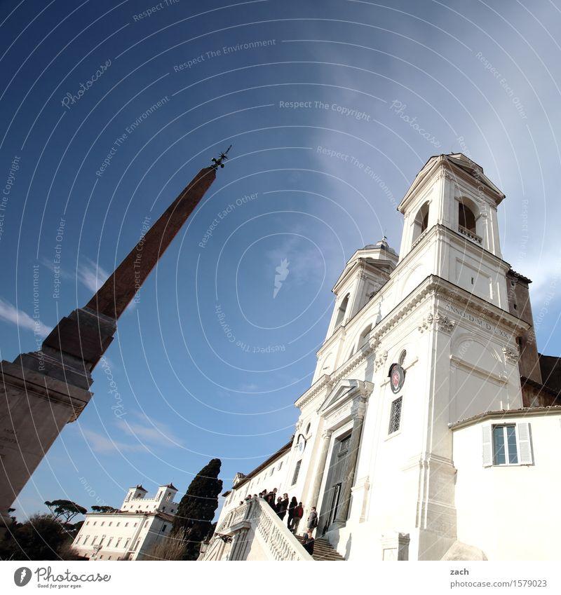 zugespitzt Himmel Ferien & Urlaub & Reisen Stadt alt blau weiß Baum Religion & Glaube Park Treppe Kirche Italien Turm historisch Hauptstadt