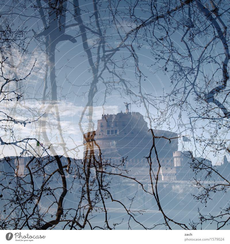 Hinterm Vorhang Ferien & Urlaub & Reisen Sightseeing Städtereise Himmel Wolken Pflanze Baum Ast Zweig Rom Italien Hauptstadt Altstadt Palast Burg oder Schloss