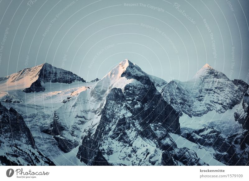 gehörnte Berge   Rosenhorn, Mittelhorn, Wetterhorn Himmel blau Landschaft Winter Berge u. Gebirge Umwelt Felsen Tourismus leuchten wandern Europa Spitze Gipfel
