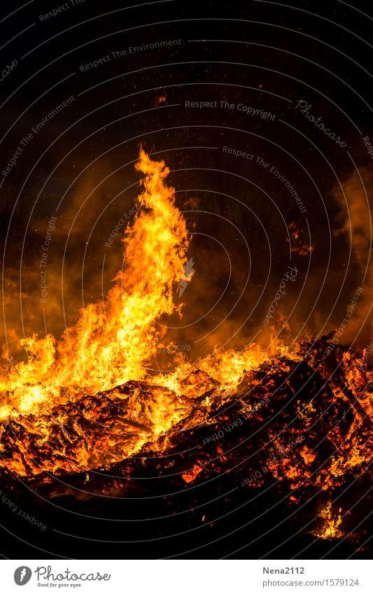 Heiße Ecke Feuer Brand Frühling Sommer bedrohlich fantastisch orange Freude Flamme heiß Osterfeuer Rauch Glut glühen glühend brennen heizen Feuerstelle Stimmung