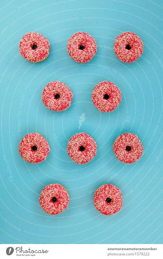 Doooooooooonut Kunst Kunstwerk ästhetisch rosa blau Komplementärfarbe Krapfen viele Muster Symmetrie Süßwaren Süßwarengeschäft Süßwarenstand lecker