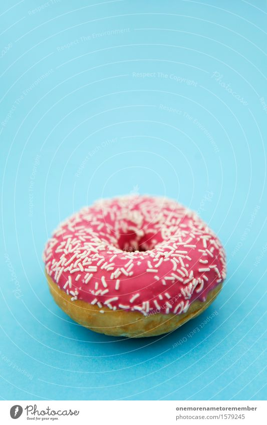 Donut Kunst Kunstwerk ästhetisch Krapfen süß Süßwaren Süßwarengeschäft Süßwarenstand Zucker lecker rosa Streusel blau Komplementärfarbe Kontrast