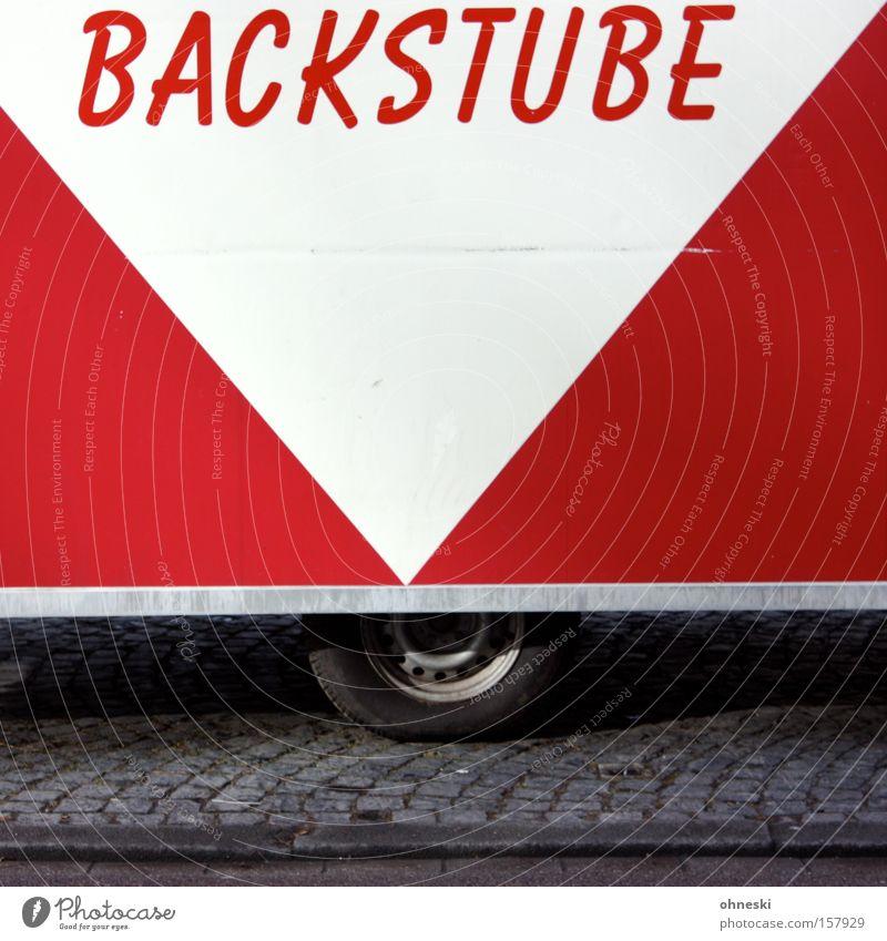 Frühstück? Brötchen? Croissants? weiß rot Schriftzeichen Buchstaben Dienstleistungsgewerbe Brot Typographie Markt verkaufen Backwaren Buden u. Stände Wagen