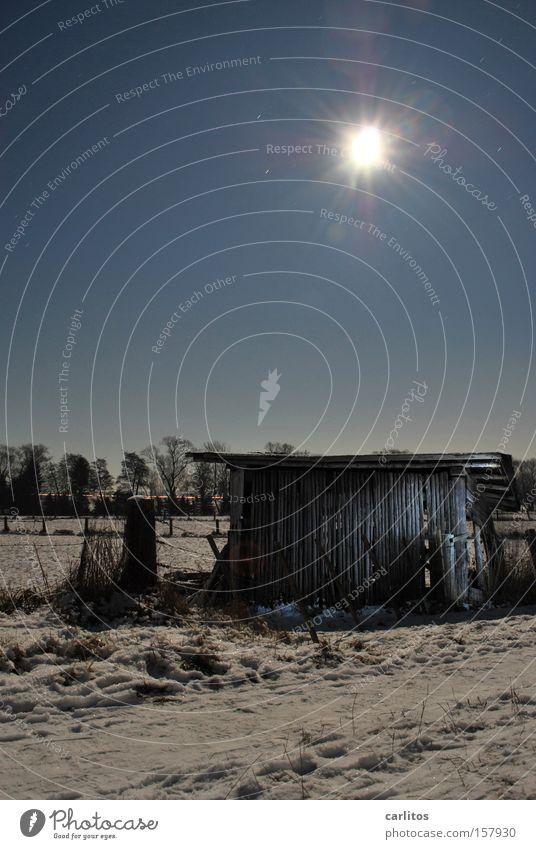 Vollmondnacht (ohne Wolf) Nacht dunkel Licht Langzeitbelichtung Schneelandschaft Landwirtschaft Radioaktivität Strahlung Winter Lichtmalerei Bauerndisko Scheune