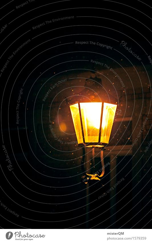 Winternacht. Kunst ästhetisch Lampe Laterne Laternenpfahl Schnee Schneefall Schneeflocke rieseln Beleuchtung kalt Farbfoto mehrfarbig Außenaufnahme