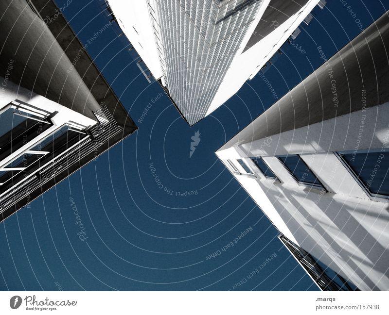 Dreierlei Himmel Haus Fenster Architektur Gebäude Business Arbeit & Erwerbstätigkeit hoch Häusliches Leben Sauberkeit Bankgebäude Wirtschaft Geometrie Block