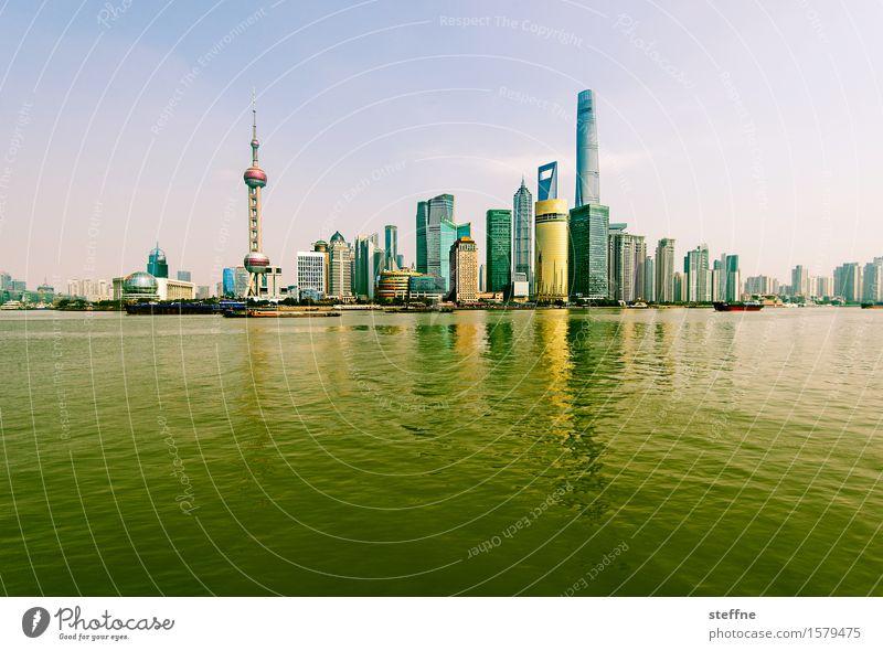Am gelben Fluss Himmel Frühling Schönes Wetter Flussufer Stadt Skyline Hochhaus Shanghai China Pu Dong Reflexion & Spiegelung Zukunft überbevölkert