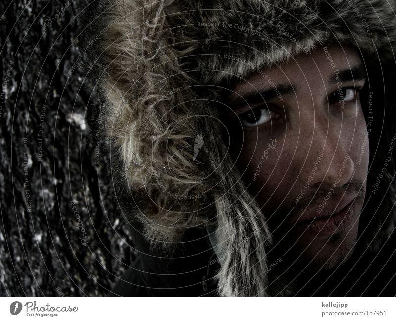 fargo Mensch Mann Winter Gesicht Auge kalt Bart Russland Baumrinde Kinn Sibirien Baseballmütze