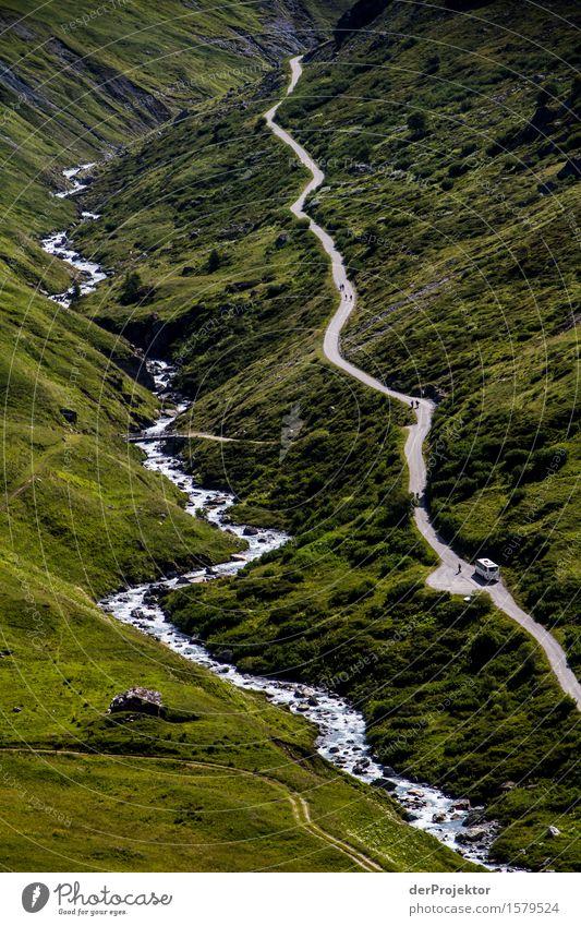 Wasser(Strasse) Natur Ferien & Urlaub & Reisen Pflanze Sommer Landschaft Freude Ferne Berge u. Gebirge Umwelt Wiese Wege & Pfade Freiheit Linie Tourismus